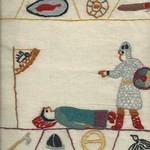 (Plastic-wrapped) From the Bayeaux Tapestry, maybe, by Stamford Bridge Tapestry Project