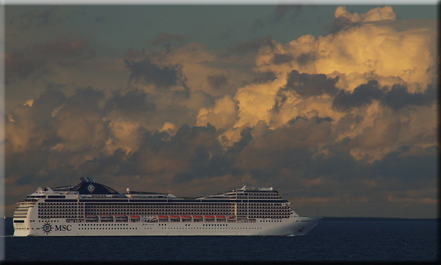 The cruise ship MSC Magnifica in the Fehmarn Belt