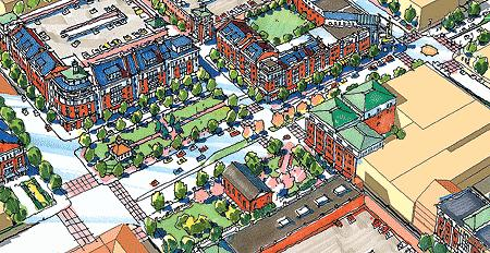 rendering of neighborhood plan for Portsmouth, VA (plan by Ray Gindroz, posted by Peter Stinson, creative commons)