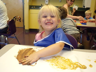 Kaitlyn age 35 months painting with pudding at a CDM class - 06-24-10