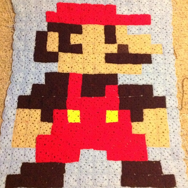 Crochet Pattern For Mario Blanket : Mario Granny Square Blanket Crocheted granny square ...