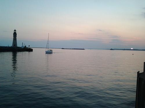 Erie basin marina at sunset