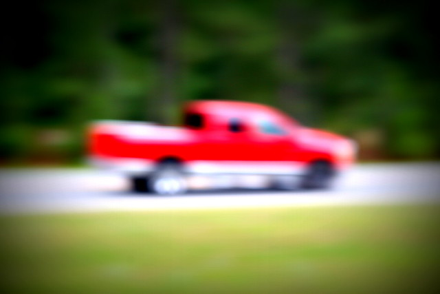 red truck (lensbaby)