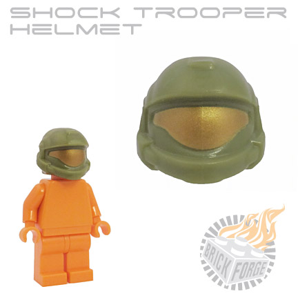 Shock Trooper Helmet - Olive Green (gold visor print)