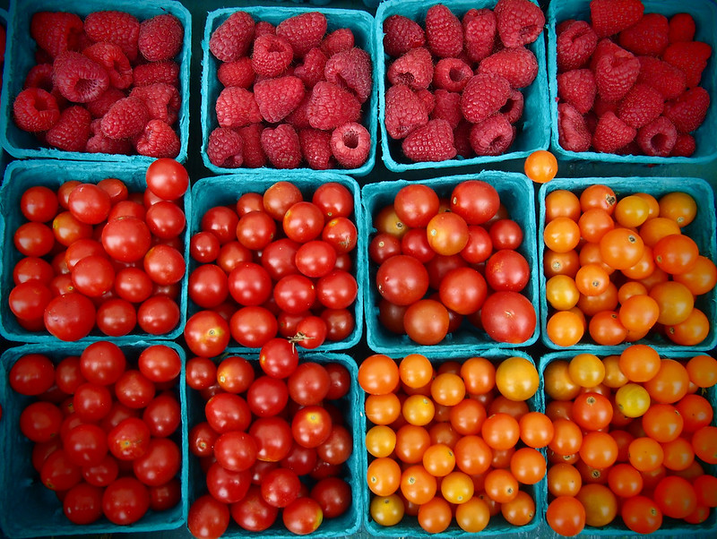 Raspberries and Cherry Tomatos