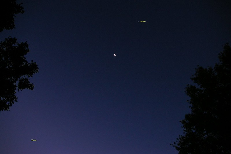Waning Moon Between Jupiter and Venus