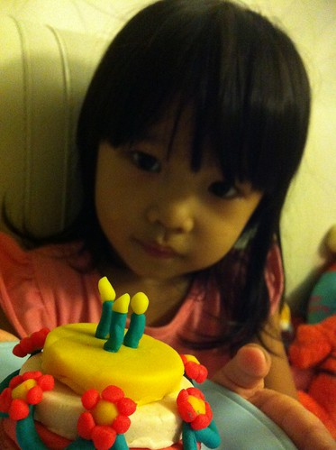 euna and her play doh cake