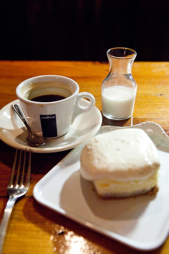 Americano with lavender-lemon goat cheesecake