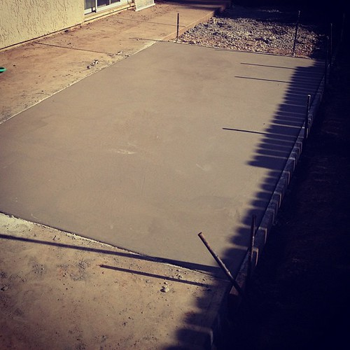Our beautiful new slab of concrete. Should be finished this weekend. Patio cover to follow!