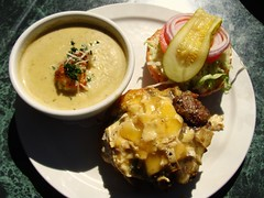 Garlic Soup and Brie Burger