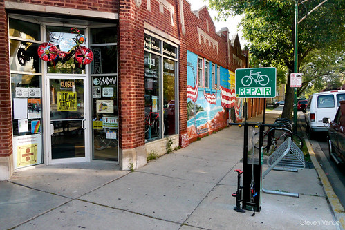 DIY bike repair stand created by West Town Bikes
