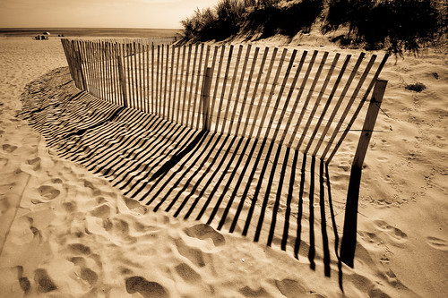 Beach Fence And Shadow