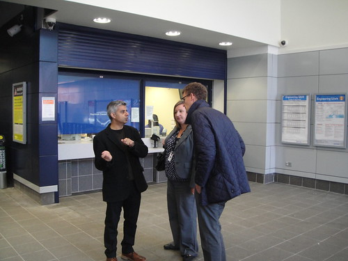 Sadiq outside the new ticket office at Earlsfield Station