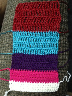 Double-treble crochet swatch (red)