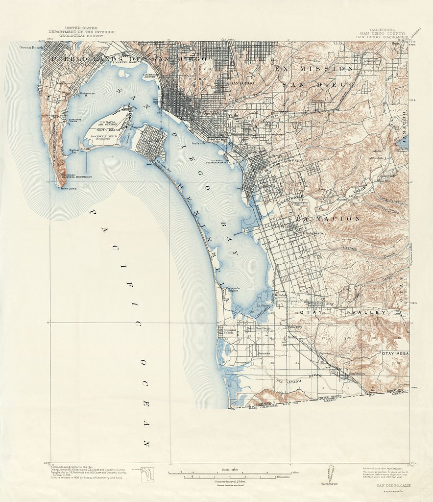 San Diego Quadrangle Topographic Map 1904 1941 Thornydalemapco