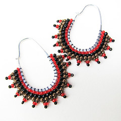 Red and Black Beaded Sterling Hoops