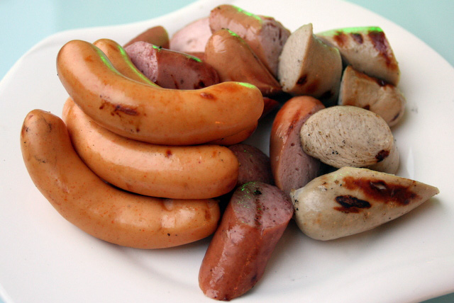 Assortment of sausages and bratwurst