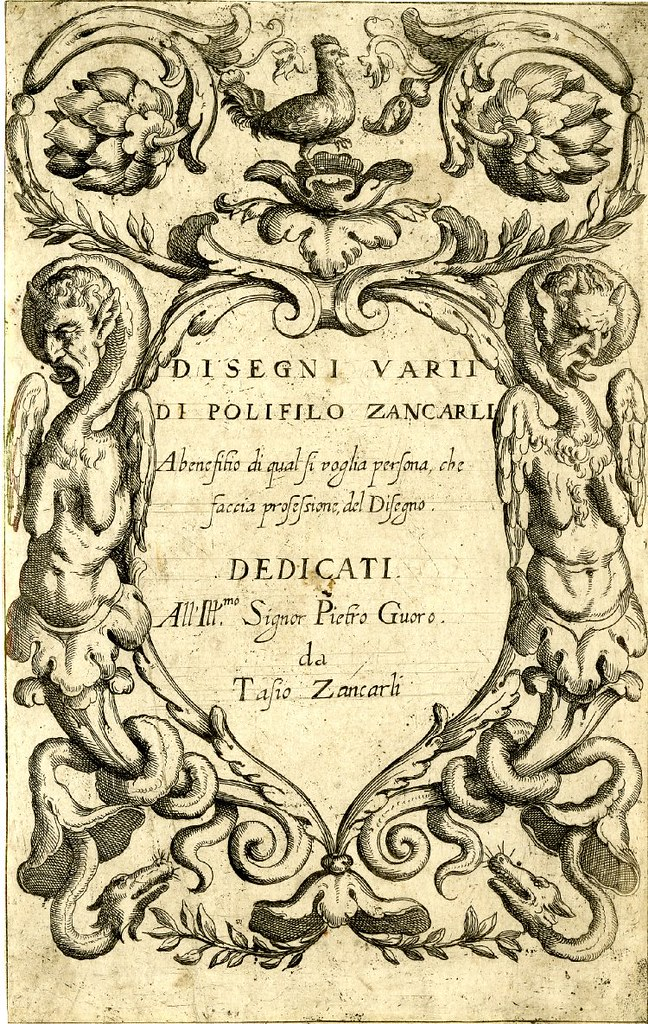 titlepage etching 1620s with acanthus rinceau and chimeric monster ornament border