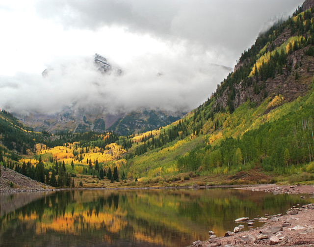 The first snow of the season on Maroon Bells, Colorado.