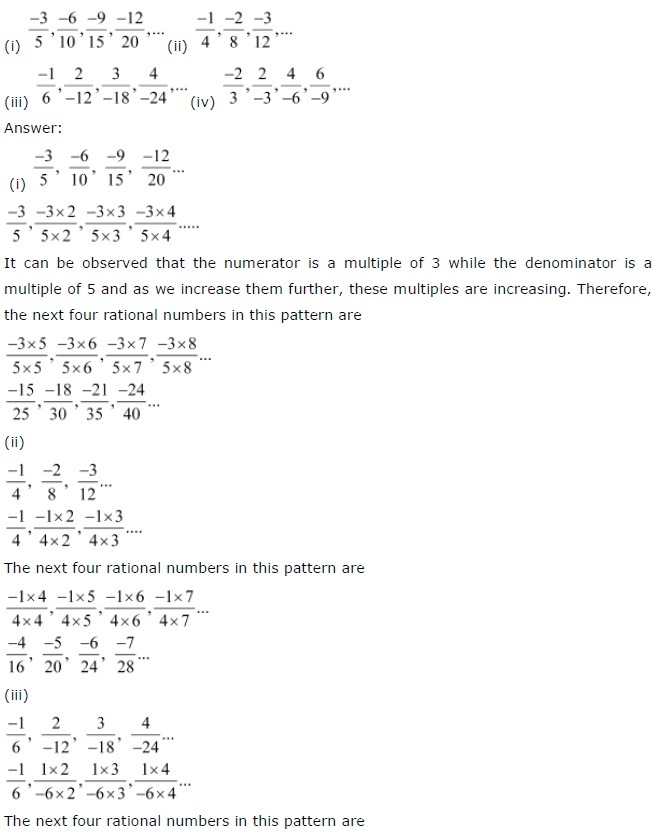 NCERT Solutions for Class 7th Maths Chapter 9 Rational Numbers Exercise 9.1