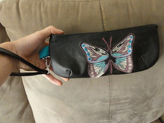 Vinyl and cotton Wristlet