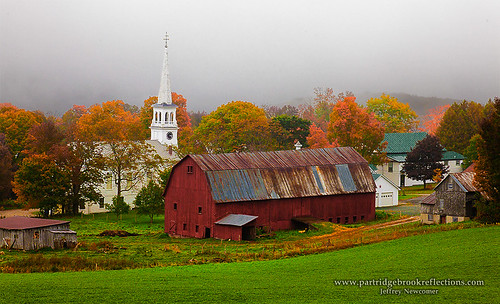 autumn fall church barn vermont peacham