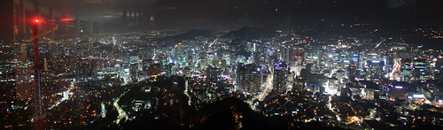 Panorama of Seoul at night from Namsan Tower