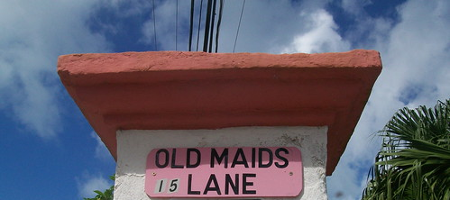 Old Maids Lane street sign