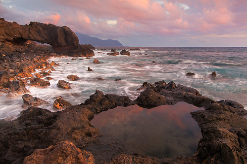 seascape landscape hawaii day arch cloudy oahu naturalbridges sidelighting kaenapoint watermotion leendgrad 24mm14lii