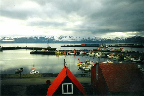 Husavik harbor at midnight
