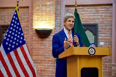 U.S. Secretary of State John Kerry addresses employees at U.S. Embassy Dhaka during a visit to Dhaka, Bangladesh, on August 29, 2016. [State Department Photo/ Public Domain]