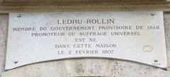 Photo of Alexandre Auguste Ledru-Rollin white plaque