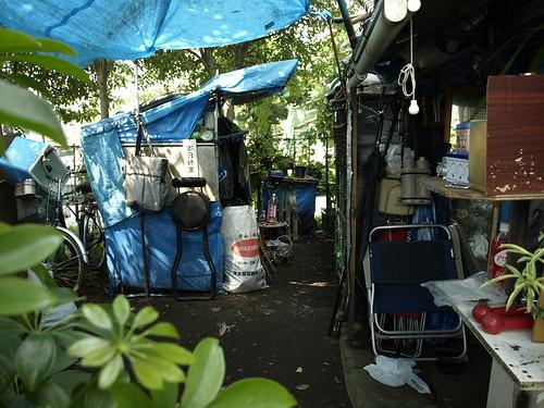 Zero Yen Houses near the river in Tokyo