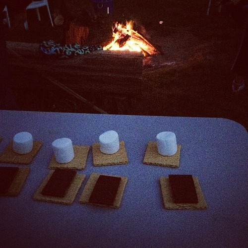 S'more assembly line.