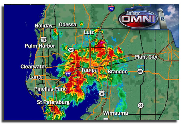 Fox 13 Skytower Radar at 9 pm