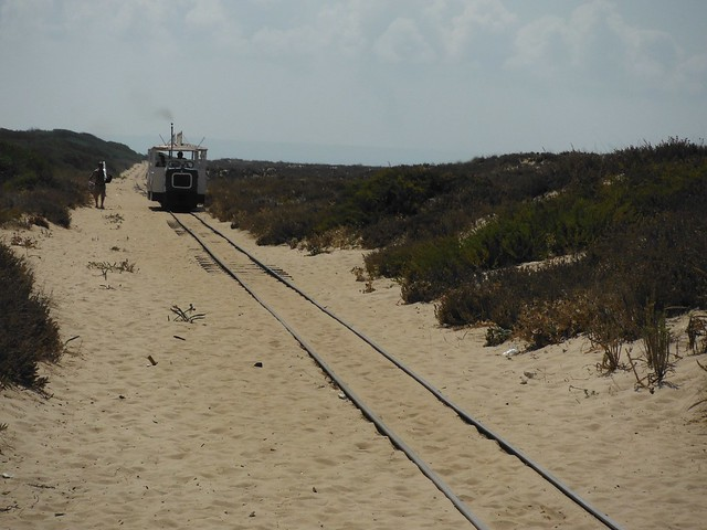 Train approaching Casa da Praia