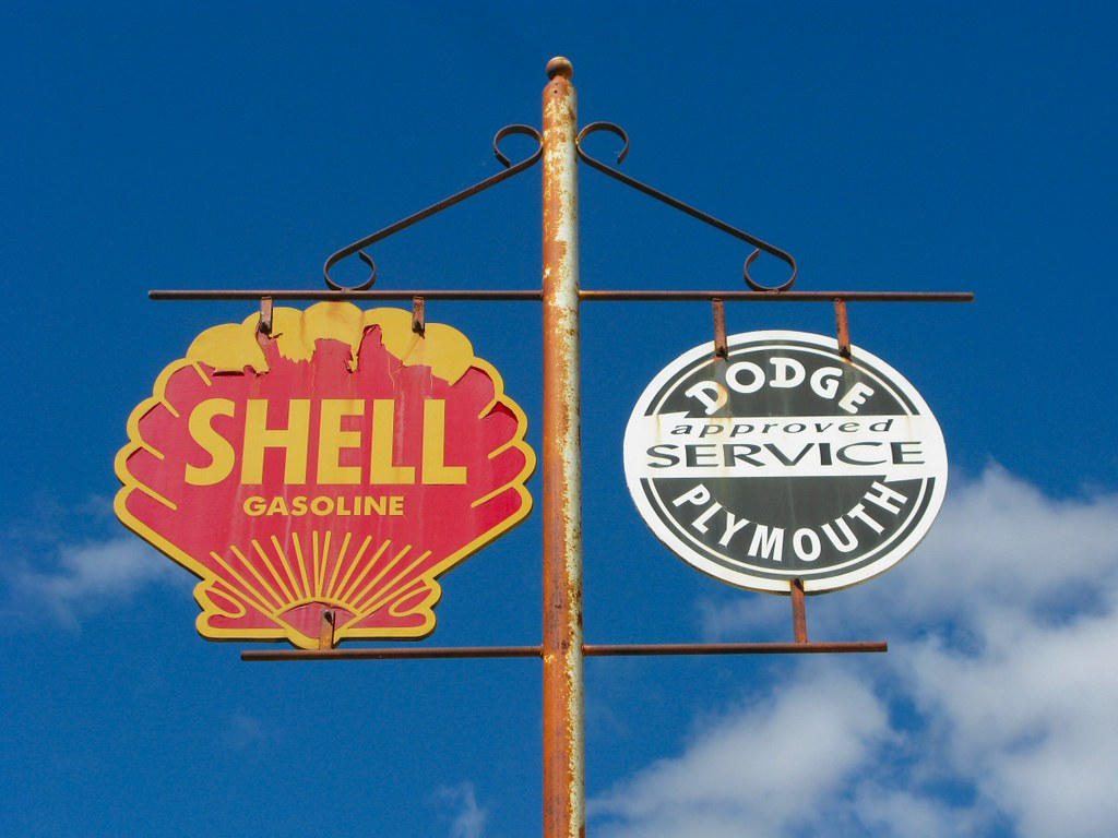 Old Shell, Dodge Plymouth signs - New Ulm, MN