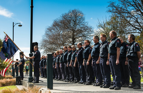 Firefighters at the September 11 memorial service in Christchurch.