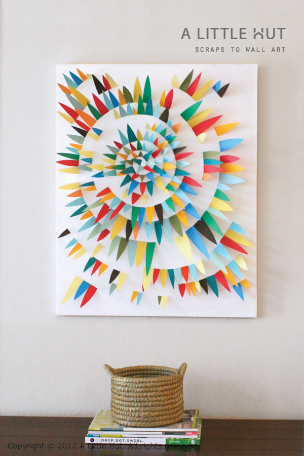A Little Hut - Patricia Zapata: use paper scraps to make wall art