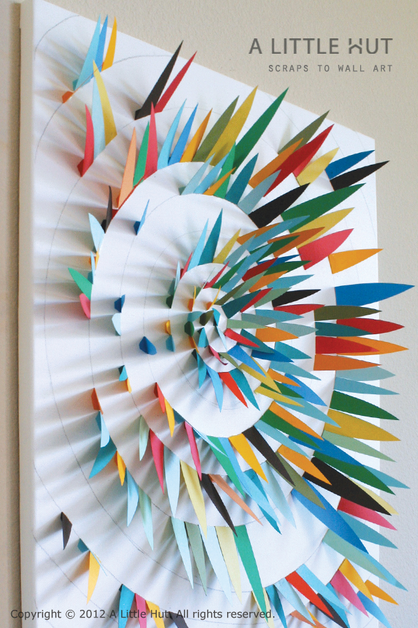 little hut patricia zapata use paper scraps to make wall art