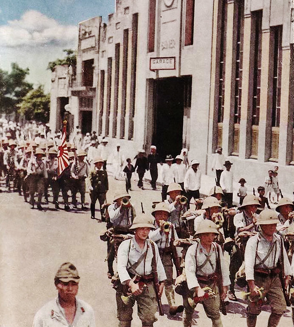 Japanese soldiers march into Saigon (1 August 1941)