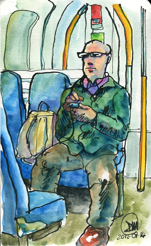 Commuting pastimes, a watercolour by David Meldrum