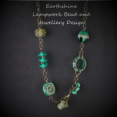 Teal Lampwork and Brass Necklace