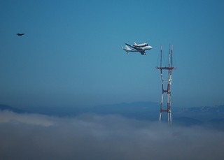 Endeavour flies beside Sutro Tower, San Francisco, over San Bruno Mountain, California