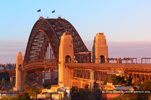 Sydney Harbour Bridge at Sunset from Observatory Hill, Sydney, New South Wales (NSW), Australia