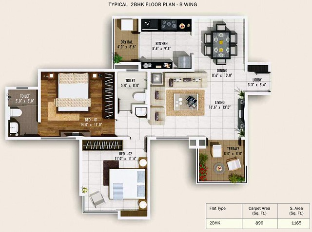 2 BHK Flat 896 Carpet + Terrace in B Wing, Pebbles II by Abhinav Group & Rainbow Housing, 2 BHK & 3 BHK Flats, behind DSK Toyota Showroom, at Bavdhan Budruk, Pune 411021