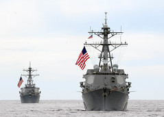 In this file photo, guided-missile destroyers USS McCampbell (DDG 85) and USS Fitzgerald (DDG 62) operate together in the Pacific Ocean in September 2012. (U.S. Navy photo by Mass Communication Specialist 2nd Class Devon Dow)
