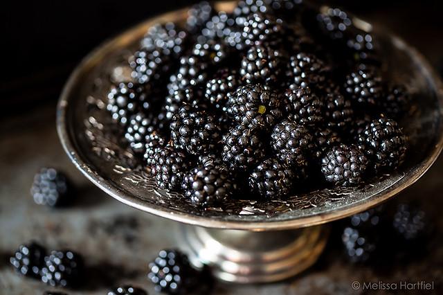 Blackberries on a silver platter