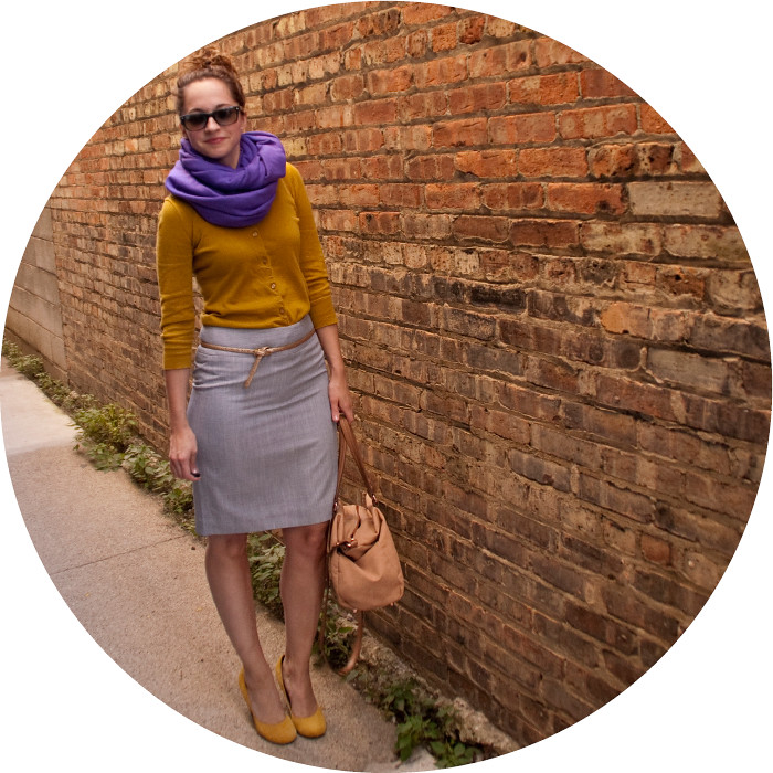 dash dot dotty, mustard and purple, fall color combinations, pencil skirt work outfits, yellow heels, big scarves, ootd
