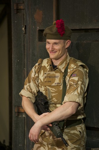 Chris Starkie in the National Theatre of Scotland's production of Black Watch, presented at the Shakespeare Theatre Company. Photo by Manuel Harlan.